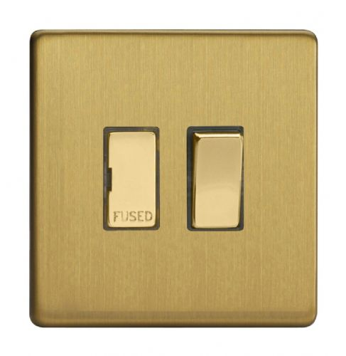 Varilight XDB6DS Screwless Brushed Brass 1 Gang 13A Switched Fused Spur